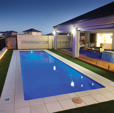 The Milan 10m x 3m fibreglass swimming pool